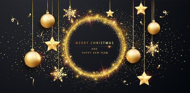 Modello di banner di buon natale e felice anno nuovo. sfondo festivo con polvere dorata e bagliore