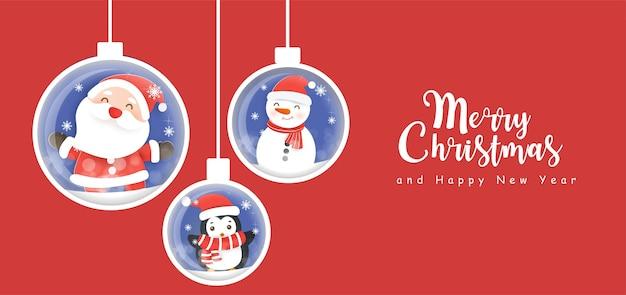 Buon natale e felice anno nuovo banner con simpatici babbo natale e amici.