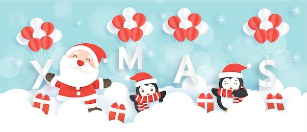 Buon natale e felice anno nuovo banner con simpatici babbo natale e pinguini.