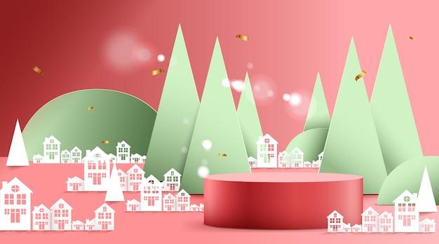 Buon natale e felice anno nuovo banner con decorazioni per il festival di natale