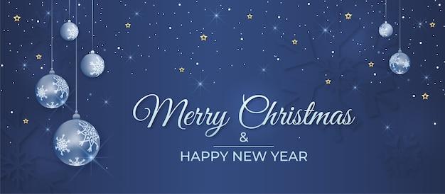 Buon natale e felice anno nuovo banner con palline decorative e neve che cade