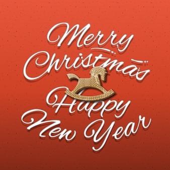 Iscrizione calligrafica di buon natale e felice anno nuovo, sfondo rosso,