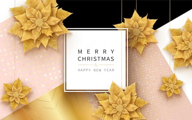 Cartolina d'auguri orizzontale di buon natale e felice anno nuovo con fiori di natale