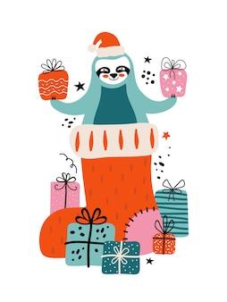 Carta di buon natale e felice anno nuovo. bradipo in cappello di babbo natale in un calzino di natale con un sacco di regali