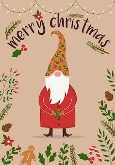 Biglietto di buon natale e felice anno nuovo con un simpatico gnomo fatato che indossa un grande cappello e tiene in mano una scatola regalo