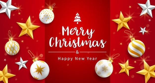 Carta di buon natale e felice anno nuovo con oro