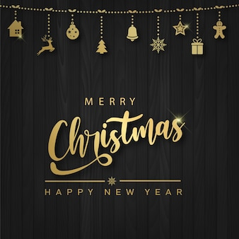 Carta di buon natale e felice anno nuovo con ornamenti di natale appesi su fondo di legno. vettore