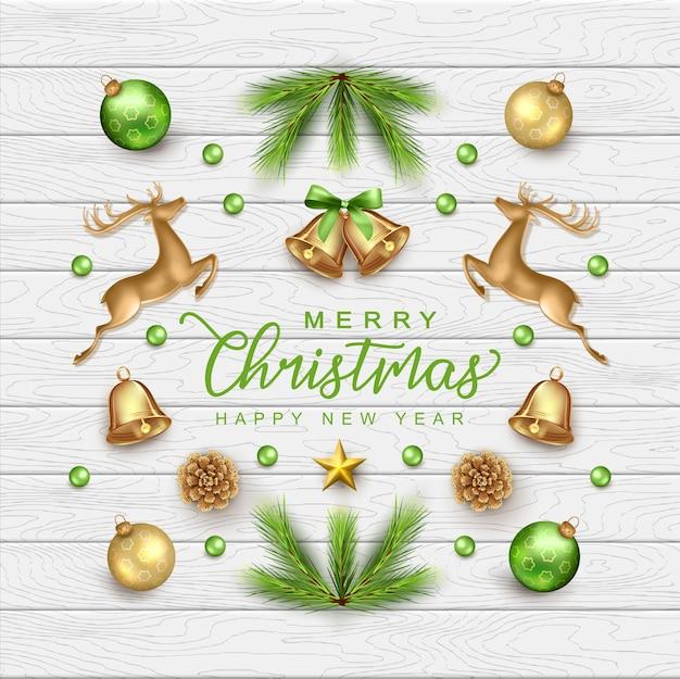Buon natale e felice anno nuovo card con realistiche decorazioni natalizie