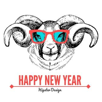 Carta di buon natale e felice anno nuovo con ritratto di schizzo di pecore hipster. illustrazione vettoriale disegnata a mano