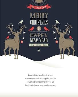 Carta di buon natale e felice anno nuovo con due cervi.