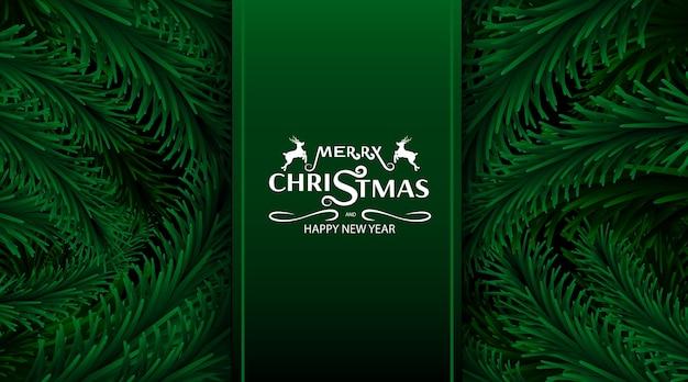 Buon natale e felice anno nuovo, sfondo di rami di albero di natale