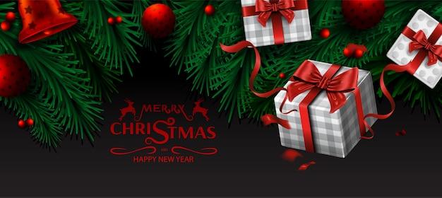 Buon natale e felice anno nuovo, rami di albero di natale e sfondo di ornamento