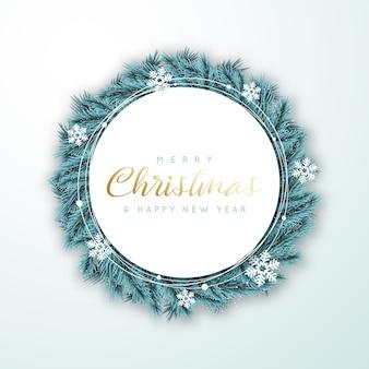 Buon natale e felice anno nuovo cerchio cornice con spase per il testo