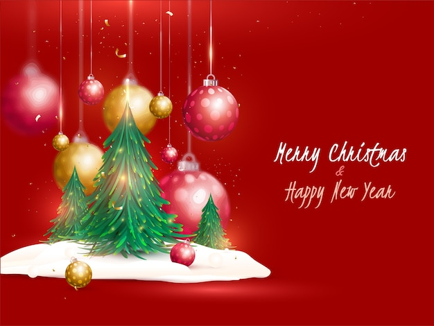 Buon natale e felice anno nuovo concetto con alberi di natale, palline realistiche e neve su sfondo rosso.
