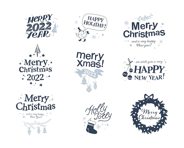 Buon natale e felice anno nuovo congratulazioni progetta con la scrittura a mano e le icone delle vacanze isolate. illustrazione piana di vettore. per biglietti, striscioni, stampe, packaging, inviti, cartellini.