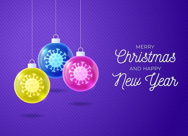 Buon natale e felice anno nuovo concetto di epidemia di coronavirus. Vettore Premium