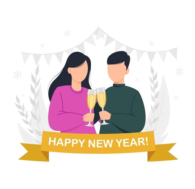 Buon natale e felice anno nuovo coppia in possesso di due bicchieri di champagne