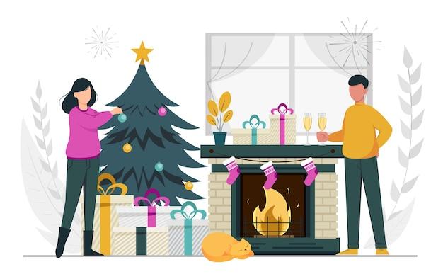 Buon natale e felice anno nuovo coppia che si prepara per la celebrazione