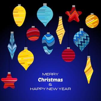 Buon natale e felice anno nuovo sfondo blu scuro con palle di natale. sfondo vettoriale per biglietti di auguri, inviti, manifesti festivi.