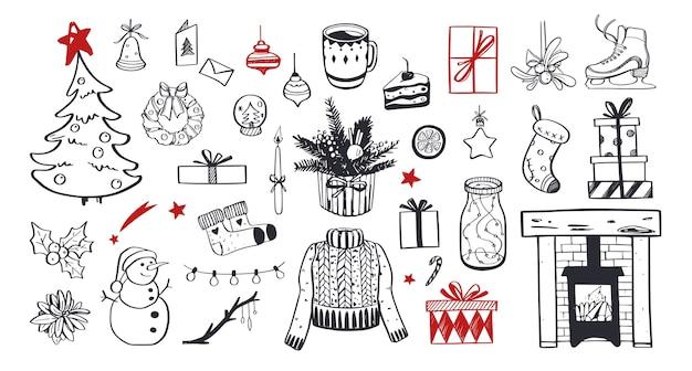 Buon natale e felice anno nuovo insieme festivo. albero di natale disegnato a mano, camino