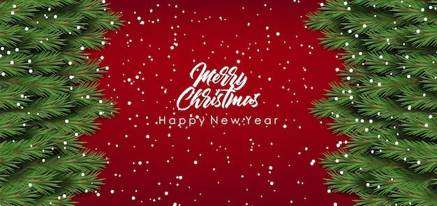 Buon natale e felice anno nuovo, ramo di abete con la neve