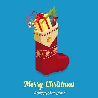 Buon natale felice anno nuovo piatto isometria. calzino pieno regalo cioccolatini bastoncino di zucchero collezione creativa per le vacanze invernali