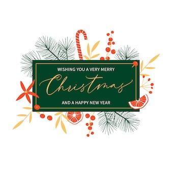 Modello di carta floreale di buon natale e felice anno nuovo con calligrafia manoscritta. stile vintage alla moda