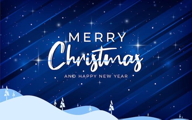 Buon natale e felice anno nuovo sfondo incandescente con nevicate, illuminazione, albero di natale, design scintillante