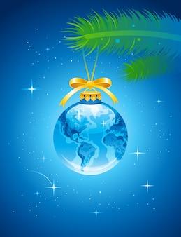 Biglietto di auguri di buon natale e felice anno nuovo con decorazione a globo.