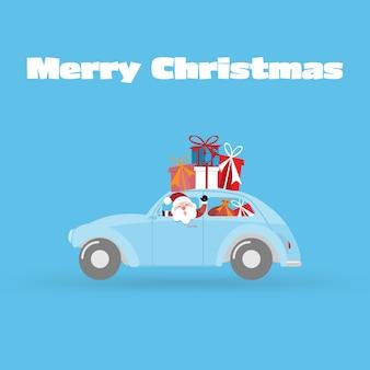Fondo della cartolina d'auguri di buon natale e felice anno nuovo con auto e confezione regalo.