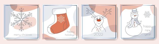 Collezione di biglietti di auguri di buon natale e felice anno nuovo simpatico set di modelli invernali quadrati moderni