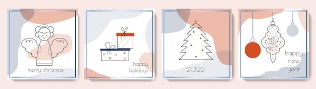 Collezione di biglietti di auguri di buon natale e felice anno nuovo set di modelli invernali quadrati carini vector