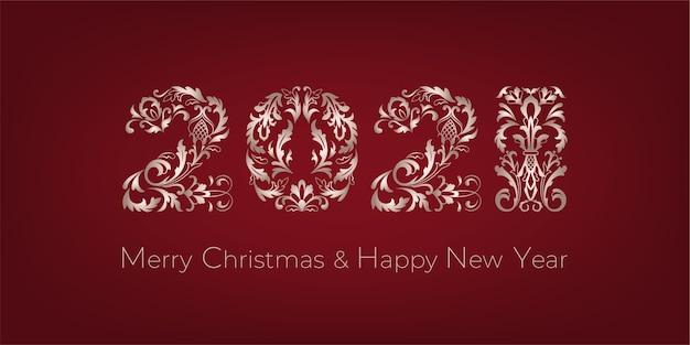 Cartolina d'auguri di buon natale e felice anno nuovo. numeri decorativi su sfondo rosso.