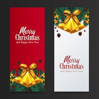 Cartolina d'auguri di buon natale e felice anno nuovo decorazione ghirlanda di foglie di abete con campana d'oro di agrifoglio per evento di natale