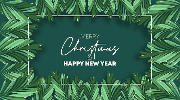 Vettore dell'illustrazione della cartolina d'auguri di buon natale e felice anno nuovo