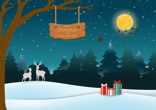 Buon natale e felice anno nuovo biglietto di auguri, scena notturna sullo sfondo della foresta