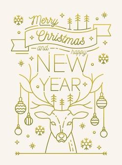 Buon natale e felice anno nuovo biglietto di auguri o modello di cartolina con corna di cervo decorato da palline, fiocchi di neve, alberi di abete rosso