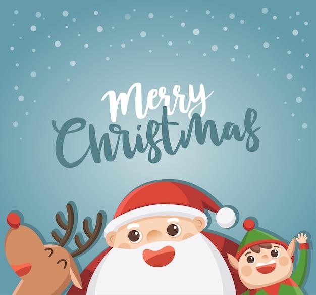 Buon natale e felice anno nuovo biglietto di auguri. babbo natale con elfo e renne.