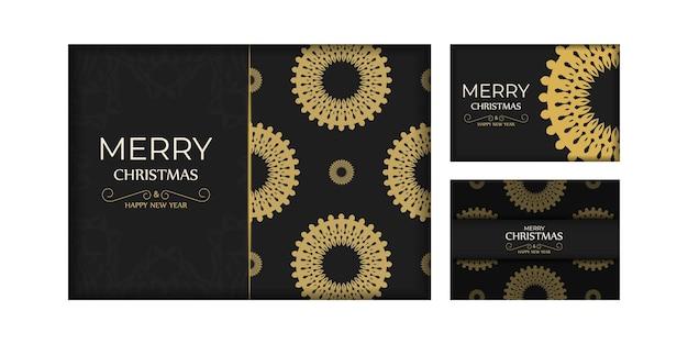 Modello di biglietto di auguri di buon natale e felice anno nuovo in colore nero con ornamenti arancioni di lusso