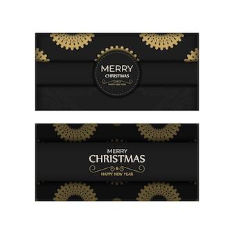 Modello di biglietto di auguri di buon natale e felice anno nuovo in colore nero con motivo arancione di lusso