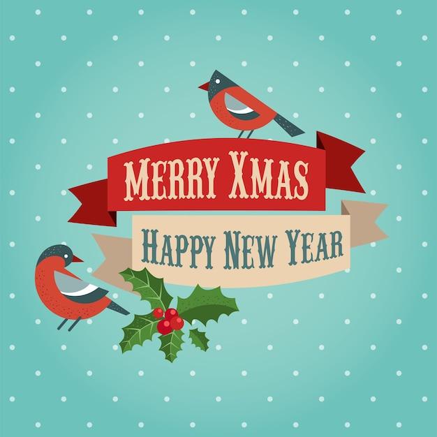 Modello di biglietto di auguri di buon natale e felice anno nuovo con pettirosso e vischio. sfondo per banner o poster