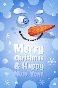 Buon natale, modello di vettore della cartolina d'auguri del buon anno. illustrazione piana del fronte del pupazzo di neve divertente
