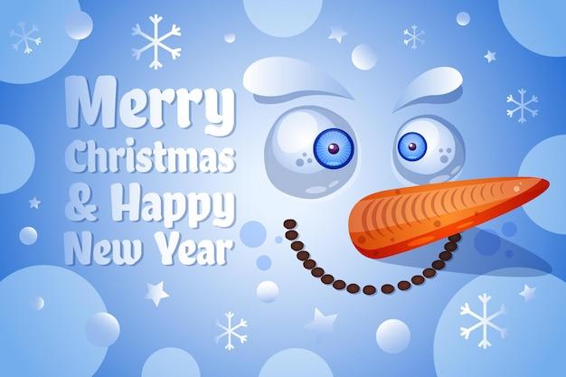 Modello di vettore della cartolina d'auguri di buon natale e felice anno nuovo. illustrazione piana del viso del pupazzo di neve