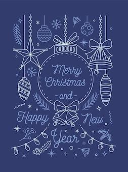 Modello di vettore di cartolina d'auguri di buon natale e felice anno nuovo