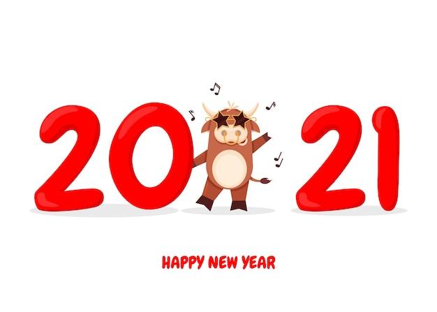 Cartolina d'auguri di buon natale felice anno nuovo con toro