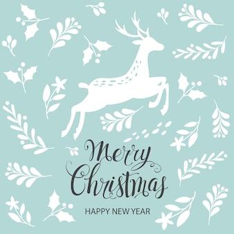 Buon natale e felice anno nuovo. biglietto di auguri con cervi di natale.