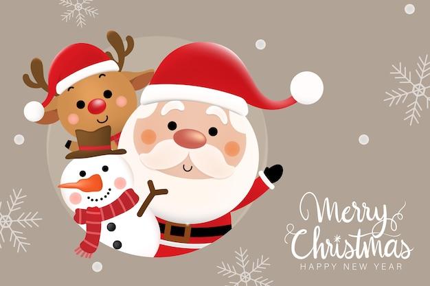 Buon natale e felice anno nuovo biglietto di auguri con simpatico babbo natale, cervi e pupazzo di neve.