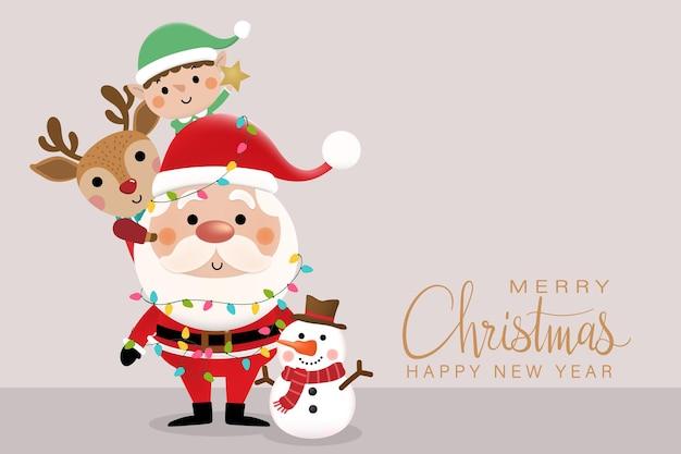 Buon natale e felice anno nuovo biglietto di auguri con simpatico pupazzo di neve elfo di babbo natale e cervo