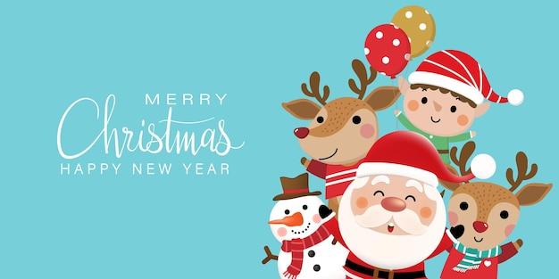 Biglietto di auguri di buon natale e felice anno nuovo con un simpatico pupazzo di neve e cervi di babbo natale