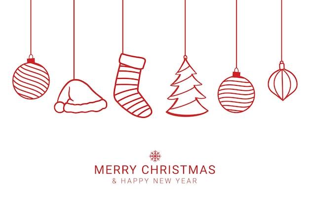 Biglietto di auguri di buon natale e felice anno nuovo con oggetti decorativi-01